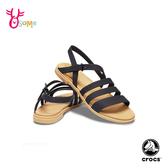 Crocs卡駱馳防水涼鞋 女鞋 特蘿莉度假風 穿搭凉鞋 休閒涼鞋 A1750#黑色◆OSOME奧森鞋業