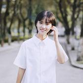 現貨出清白襯衫女長短袖修身韓版百搭學生大碼半袖襯衣清新少女女裝  4-16