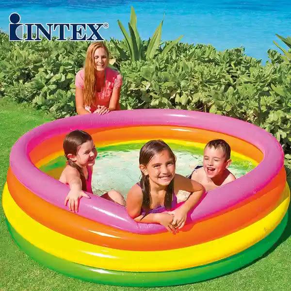 *幼之圓*最新款INTEX 56441經典款彩色四環泳池~四層氣墊球池游泳池/球池 168x46公分
