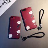 暗紅白玫瑰款iphone7plus手機殼蘋果6s日韓個性磨砂8硅膠軟套女x 免運直出 交換禮物