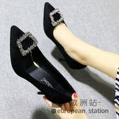 高跟鞋/女絨面淺口尖頭細跟水鑽方扣黑色工作性感單鞋小大碼「歐洲站」