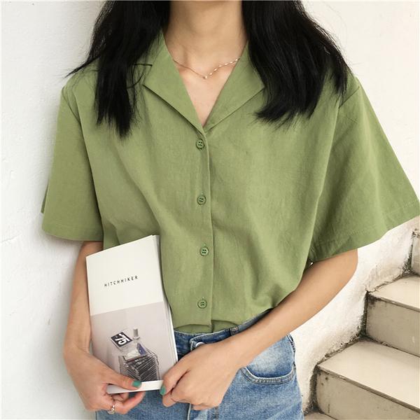 棉麻襯衫 2021春夏季韓版設計感小眾襯衫女復古港味寬鬆百搭短袖棉麻上衣 歐歐