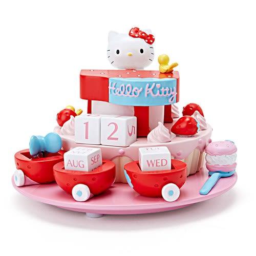 Sanrio HELLO KITTY桌上型造型萬年曆(草莓派對)★funbox★_240583