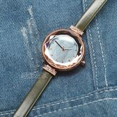 KEZZI珂紫 優雅女伶簡約晶鑽皮革手錶 女錶 纖細 防水手錶 珍珠螺貝面 玫瑰金x軍綠 KE1878綠