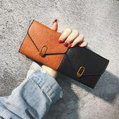 2019新款正韓錢包女短款ins時尚復古薄款搭扣個性錢夾卡包零錢包