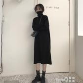 秋季韓版女裝寬鬆顯瘦過膝中長款針織毛衣裙高領長袖打底洋裝  (pinkq 時尚女裝)
