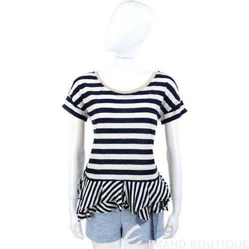 SCERVINO 藍白色條紋 拼接不規則下襬短袖上衣 1320451-23