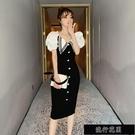 2021新款夏季泡泡袖修身包臀禮服小黑裙氣質顯瘦減齡V領連衣【全館免運】
