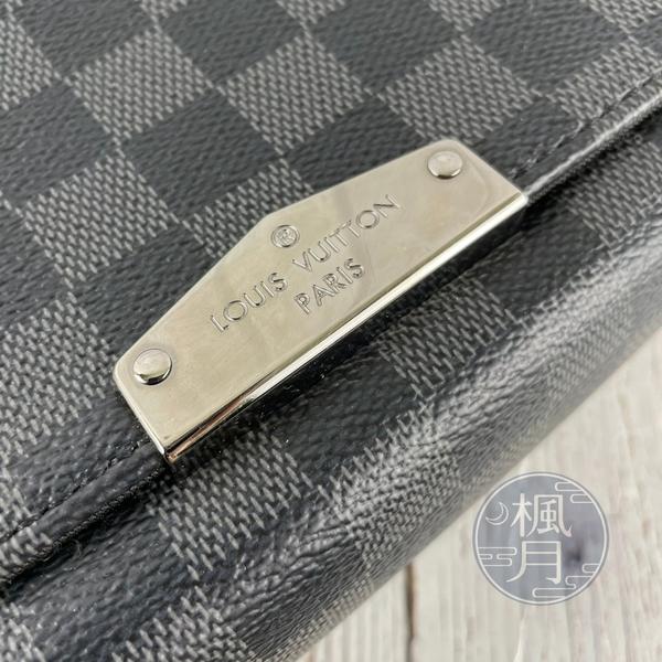 BRAND楓月 LOUIS VUITTON LV N40349 黑色 棋盤紋 掀蓋 郵差包 斜背包