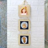 寶寶手足印手腳印 百天禮物手印泥 嬰兒手腳模 方形三連框小明同學