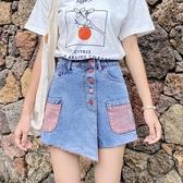 牛仔短褲女夏季2020新款大碼高腰寬鬆薄款闊腿A字熱褲裙潮Ins