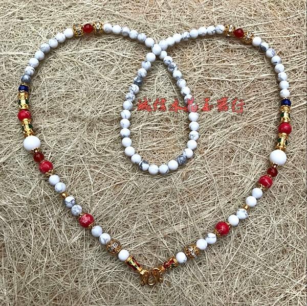 天然白松石水晶泰國佛牌鏈子 白水晶佛牌鏈
