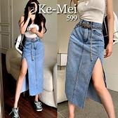 克妹Ke-Mei【ZT67927】chic二件式奢華金屬鍊心機開叉牛仔長裙
