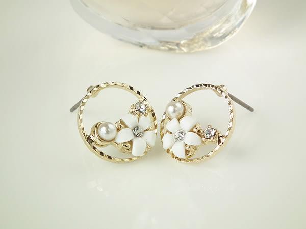 耳環 清新圓框瓷花珍珠 耳針 i917ღ