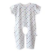 寶寶純棉短袖長褲連體睡衣薄夏季嬰幼兒童開襠空調服哈衣爬服大碼