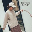 Queen Shop【01070936】素面寬版羅紋袖毛衣 兩色售*現+預*