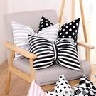 簡約現代黑白條紋蝴蝶結抱枕腰枕藍粉色網紅抱枕北歐ins可愛靠墊 NMS蘿莉新品