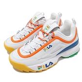 Fila 老爹鞋 Disruptor 2 Premium 女 白 藍 黃 厚底 鋸齒鞋【ACS】 4C113V139