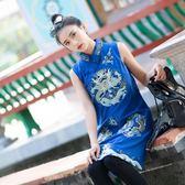 原創民族風秋冬女裝中式立領棉麻女龍鳳刺繡中長款馬甲 慕龍洋裝