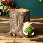 萬聖節快速出貨-韓國創意時尚簡約擺件卡通可愛木質兒童筆筒小清新多功能辦公學生