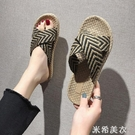 韓版百搭編織交叉外穿涼拖鞋夏季新款沙灘鞋...