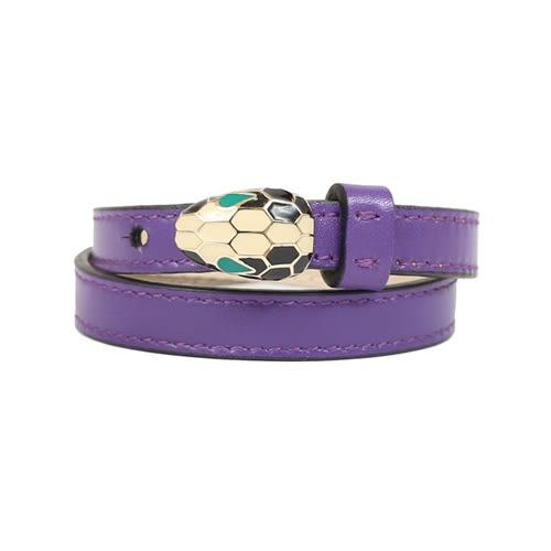 BVLGARI Serpenti Forever 砝郎單蛇頭雙環皮手環(紫色)