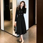 兩件式.時髦顯瘦短版長袖外套+高腰壓摺中長裙.白鳥麗子