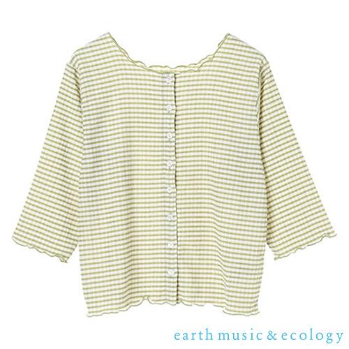 「Autumn」3WAY格紋捲邊開襟寬領七分袖上衣 - earth music&ecology