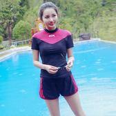 泳衣 泳裝 情侶泳裝 新款大碼情侶分體平角燈籠褲性感時尚運動短袖加肥加大無拖泳衣 女