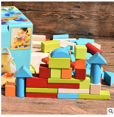 木製玩具 英國早教玩具ELC品牌100塊木頭積木 附原裝收納袋- 預購