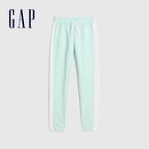 Gap女童 Logo側邊撞色條紋鬆緊長褲 627221-抹茶綠