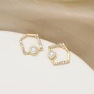 耳環 82306#銀針簡約氣質韓國幾何方塊耳環女百搭閃鉆珍珠耳釘D507韓衣裳