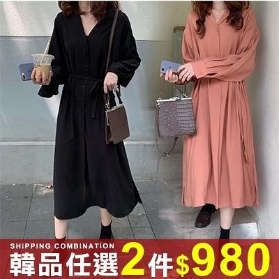 任選2件980連身裙淑女風寬鬆V領領收腰襯衫連身裙【08G-M1576】