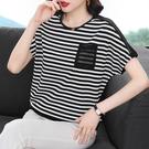 大碼短T 條紋T恤短袖媽媽裝寬松大碼圓領條紋純棉t恤T5F-543 胖妹大碼女裝