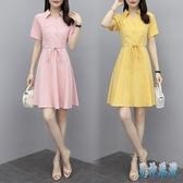 襯衫洋裝 收腰顯瘦短袖連身裙 2020夏季新款氣質兩件式法式復古裙 TR952『男神港灣』
