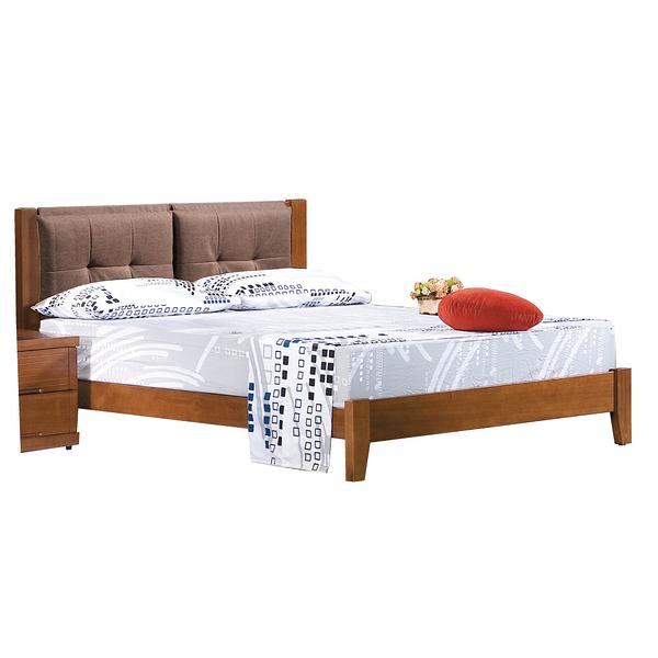 【采桔家居】托利  時尚5尺實木亞麻布雙人床台組合(不含床墊&床頭櫃)