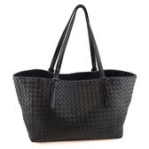 【奢華時尚】秒殺推薦!BOTTEGA VENETA 黑色編織洋皮肩背托特購物包(八八成新)#23749