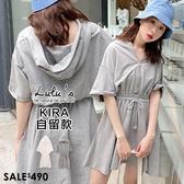 LULUS【02190003】Y半開拉鍊縮腰連帽洋裝-2色