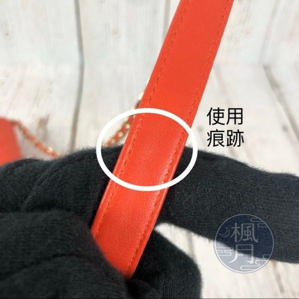 BRAND楓月 CHANEL 香奈兒 24開 菱格紋 橘紅 淡金鍊包 單肩包 側背包