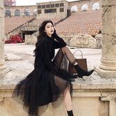 文藝風休閒針織衫兩件套S-XL新款時尚套裝韓版chic高腰網紗半身裙開叉毛衣兩件套NB15-B2-8558