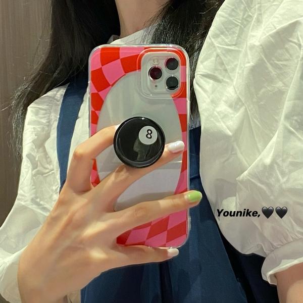 法式玫紅棋盤格子pear iphone12/11promax/xr/78plus/xsmax手機殼
