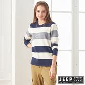 【JEEP】女裝 簡約LOGO條紋長袖TEE (深藍)