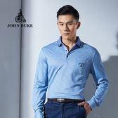 JOHN DUKE約翰公爵 舒適彈性印花休閒POLO衫 (天空藍)