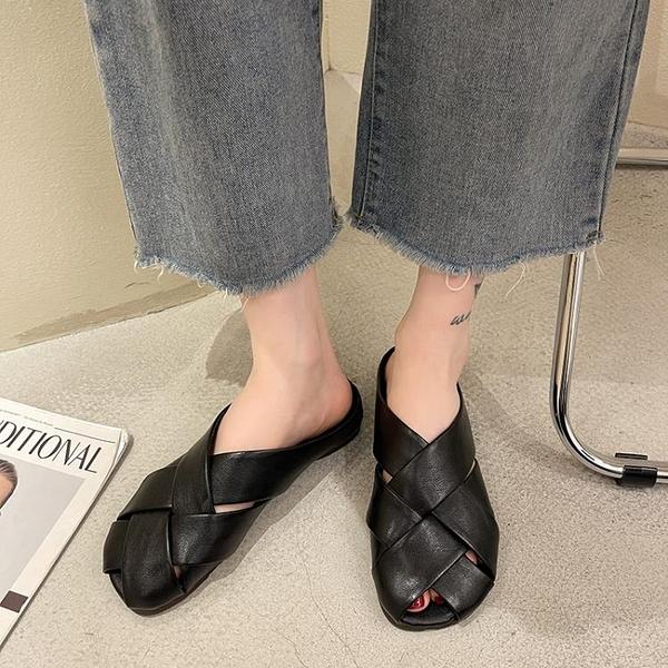 草編鞋女 包頭拖2021夏季新款外穿編織復古方頭夏平底交叉帶軟底穆勒拖鞋女【新品】