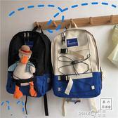 韓國INS工裝學生港風街拍書包大容量雙肩包男女ULZZANG原宿背包   (PINKQ)