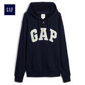 Gap男裝 簡約Logo印花連帽長袖休閒上衣 490384-海軍藍