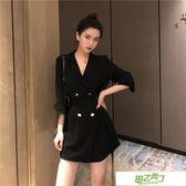 西裝外套 秋裝新品正韓chic系帶小西裝外套女休閒雙排扣中長款薄款黑色西服