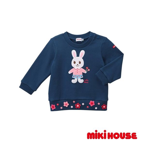 MIKI HOUSE 舞颯兔花朵長袖上衣(藏藍)