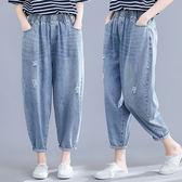適合胯大腿粗的牛仔褲女胖mm大碼春夏季韓版寬鬆休閒百搭九分褲子