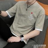 男士短袖t恤潮牌個性潮流ins韓版7七分袖寬鬆5五分袖男中袖上衣服 1995生活雜貨